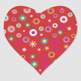 Red Heart with Colorful Flower Sticker