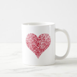 Red heart with fingerprint pattern coffee mug