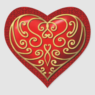 Red Heart with Gold scroll Heart Sticker