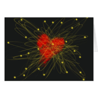 Red Heart with Gold Stars Abstract Art Design Card