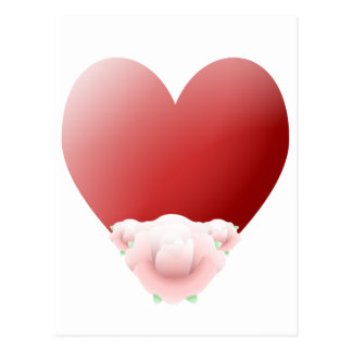 Red Heart With Pale Pink Roses Post Card