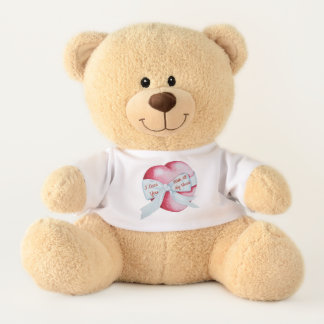 red heart with white bow original art love teddy bear