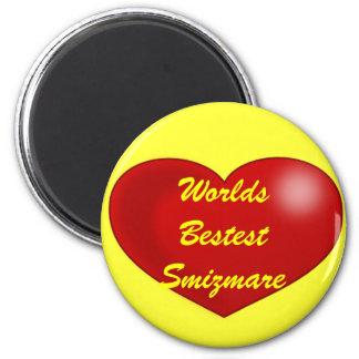red_heart, Worlds Bestest Smizmare 2 Inch Round Magnet