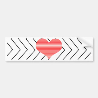 Red heart - Zigzag geometric pattern - black. Bumper Sticker