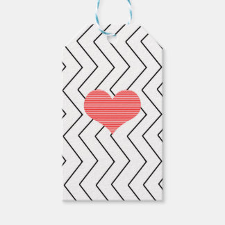 Red heart - Zigzag geometric pattern - black. Gift Tags