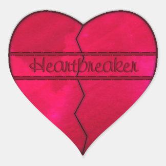 Red heartbreaker broken heart sticker