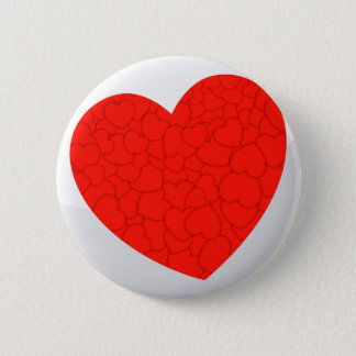Red hearts 2 inch round button