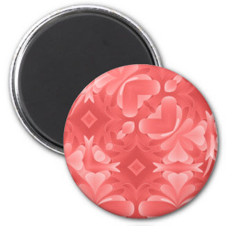 Red Hearts and Diamonds 2 Inch Round Magnet
