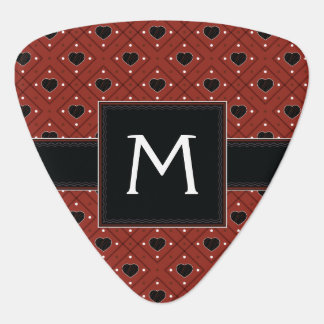 Red Hearts And Dots Plaid Pattern With Initial Guitar Pick