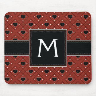 Red Hearts And Dots Plaid Pattern With Initial Mouse Pad