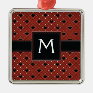 Red Hearts And Dots Plaid Pattern With Initial Silver-Colored Square Ornament