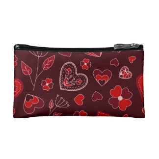 Red hearts and flowers cosmetic bag