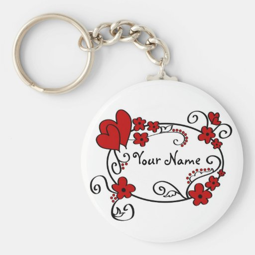 Red hearts and flowers - Keychain