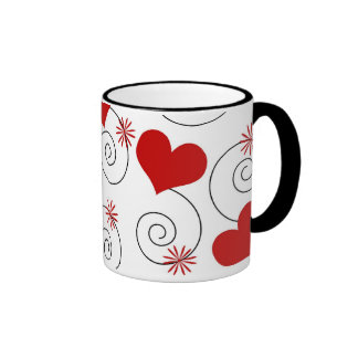 Red hearts and swirls ringer mug