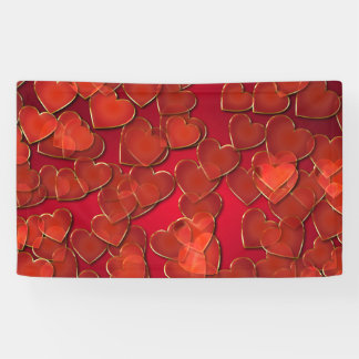 Red hearts background or backdrop banner