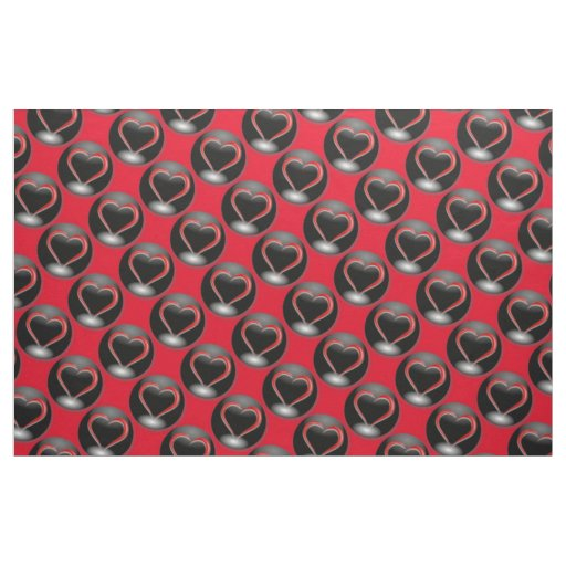 Red Hearts & Black Circles Fabric