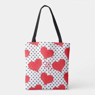 Red Hearts | Black Polka Dots Pattern Monogram Tote Bag