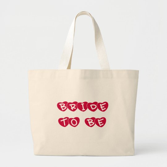 Red Hearts Bride to Be Large Tote Bag