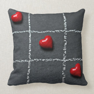 Red Hearts Chalkboard Decorative Throw Pillow