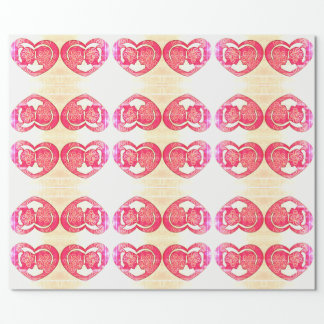 Red Hearts, Couple in Love wrapping paper
