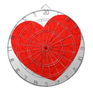 Red hearts dartboard