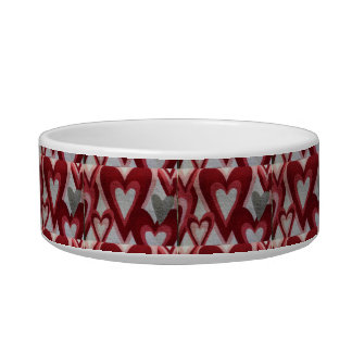 Red Hearts Design Pet Water Bowls