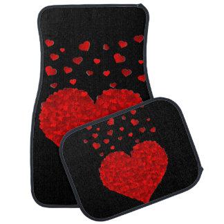 Red Hearts Design Set of 4 Car Mats