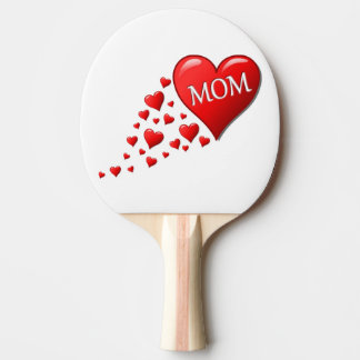 RED HEARTS FOR MOM PING PONG PADDLE