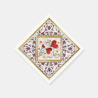 Red Hearts, Gold Damask & Lace Valentine Napkin 2 Disposable Napkin