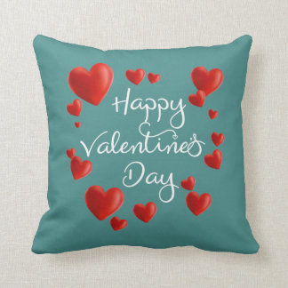 Red Hearts Happy Valentine's Day Throw Pillow