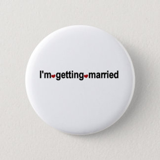Red Hearts I'm Getting Married 2 Inch Round Button