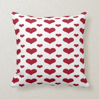 Red Hearts in a Row Pattern Throw Pillow