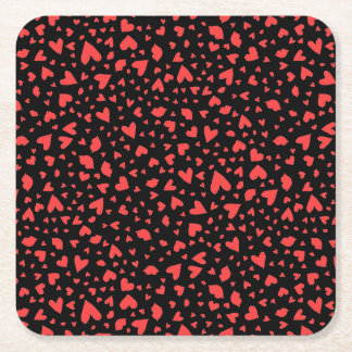 Red Hearts & Kisses Square Paper Coaster