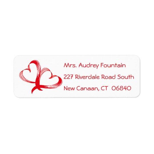 Red Hearts Love Address Wedding, Bridal Shower Return Address Label