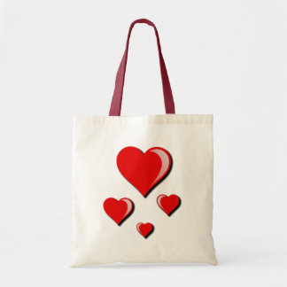 Red Hearts Love and Valentine's Day Budget Tote Bag