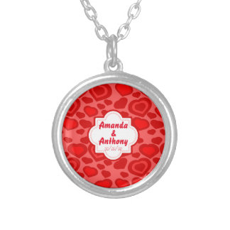 red hearts ,love silver plated necklace