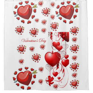 red hearts love valentines red white showercurtain