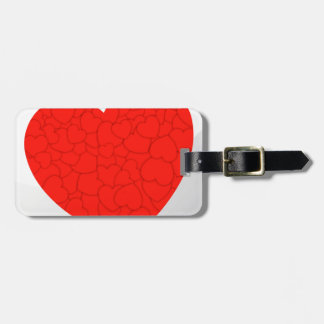 Red hearts luggage tag