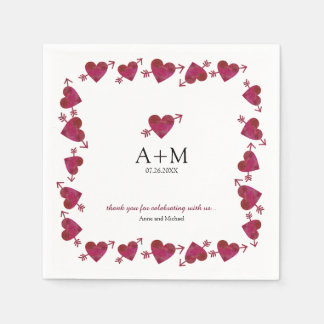 red hearts of love wedding celebration napkin