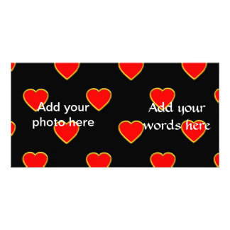Red Hearts on a Black Background Photo Greeting Card