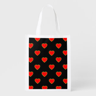 Red Hearts on a Black Background Reusable Grocery Bag
