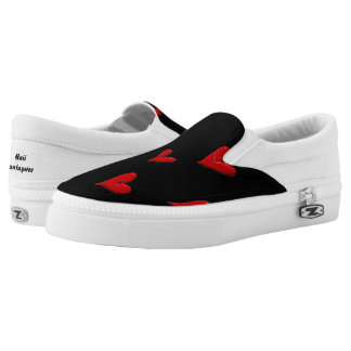 Red Hearts on Black Slip-On Sneakers