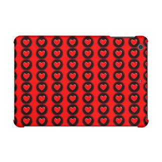 Red Hearts on Black Spots iPad Mini Cover