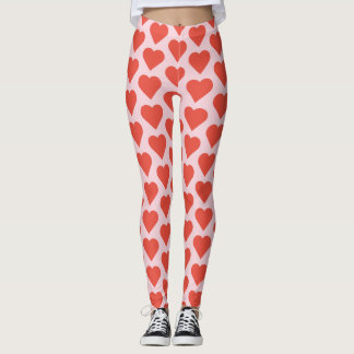 Red Hearts on Pink Leggings