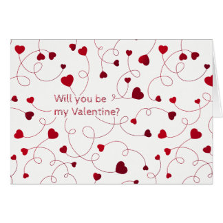 Red hearts on swirly stems card