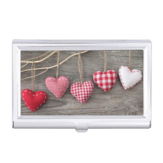 Red Hearts on Wooden Table Business Card Holder