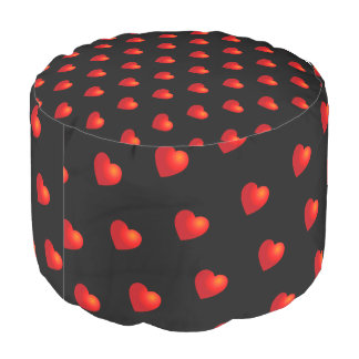 Red Hearts on (your colour) Pouf
