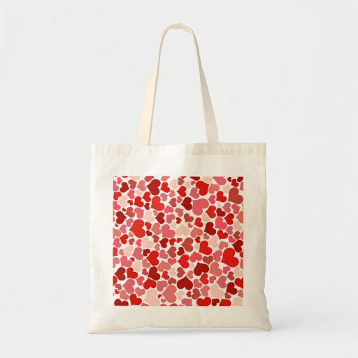 Red hearts pattern bags