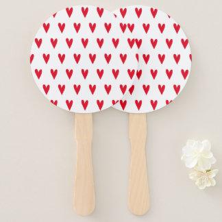 Red Hearts Pattern Hand Fan