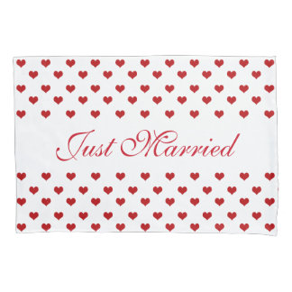 Red Hearts Pattern Just Married Wedding Pillowcase